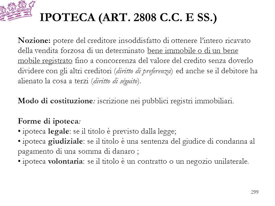 IPOTECA (ART. 2808 C.C. E SS.) Nozione: potere del creditore insoddisfatto di ottenere lintero ricavato della vendita forzosa di un determinato bene i