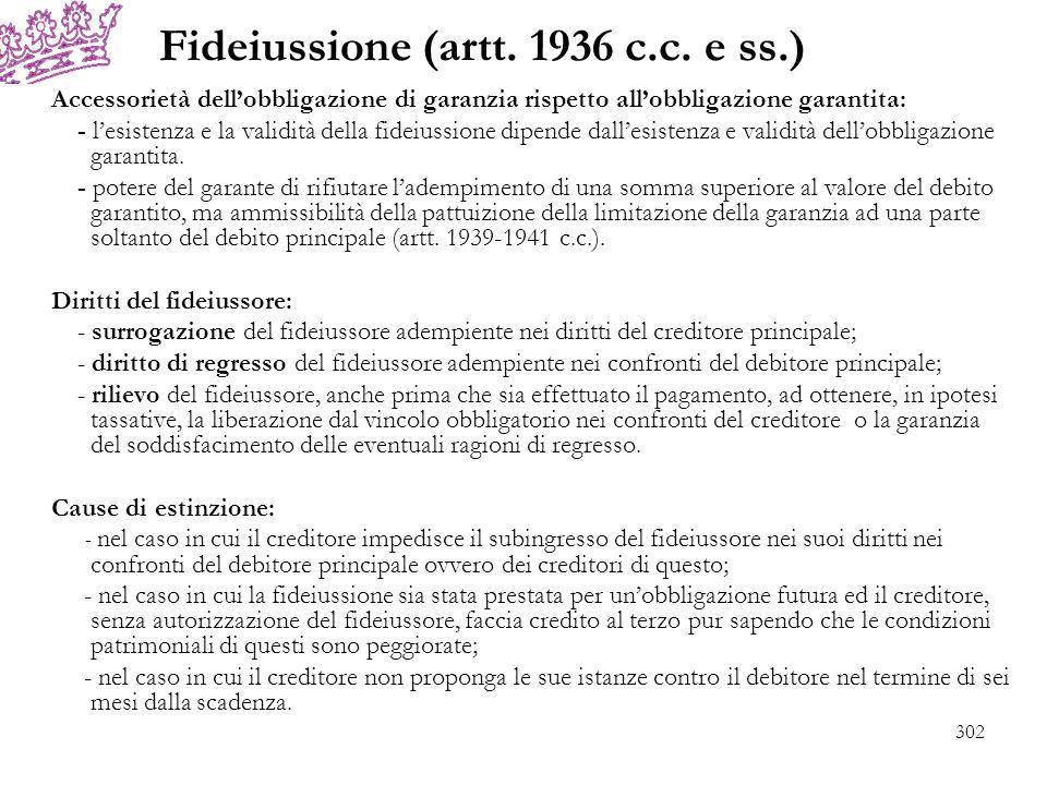 Fideiussione (artt. 1936 c.c. e ss.) Accessorietà dellobbligazione di garanzia rispetto allobbligazione garantita: - lesistenza e la validità della fi
