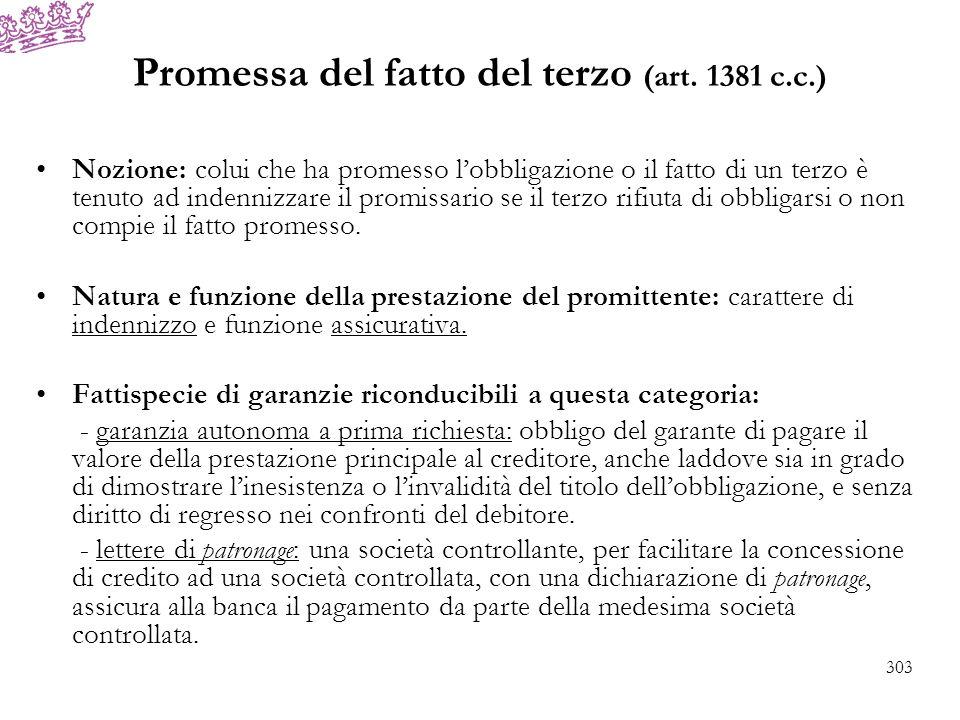 Promessa del fatto del terzo (art. 1381 c.c.) Nozione: colui che ha promesso lobbligazione o il fatto di un terzo è tenuto ad indennizzare il promissa