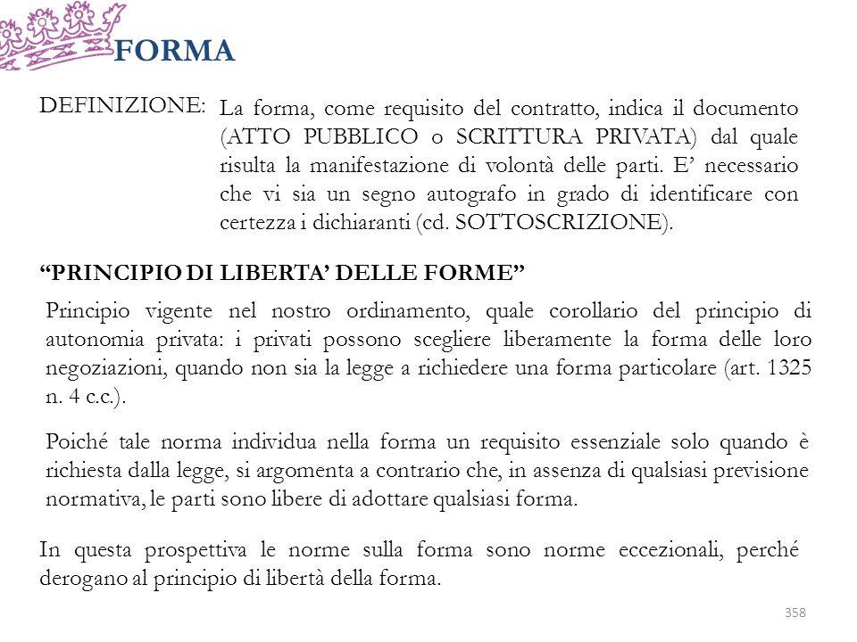 FORMA DEFINIZIONE: La forma, come requisito del contratto, indica il documento (ATTO PUBBLICO o SCRITTURA PRIVATA) dal quale risulta la manifestazione di volontà delle parti.