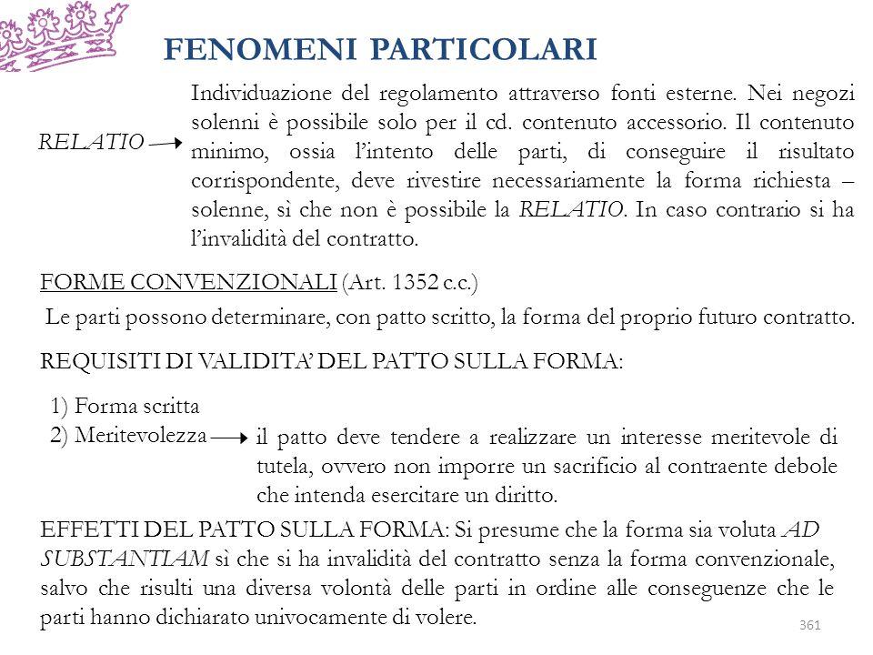 FENOMENI PARTICOLARI RELATIO Individuazione del regolamento attraverso fonti esterne.