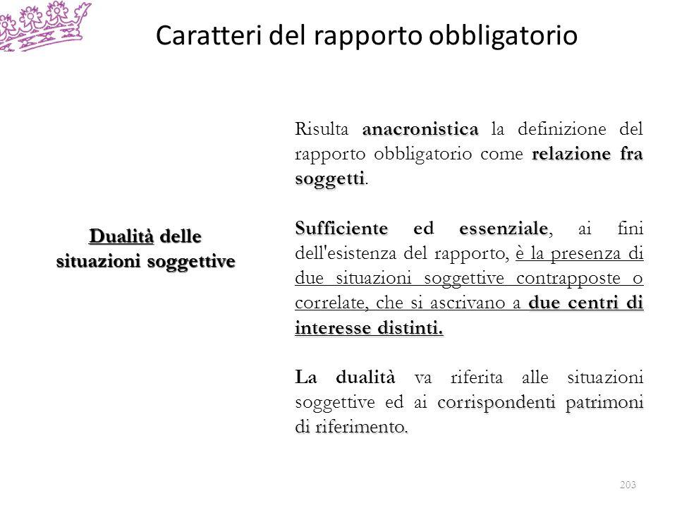 Caratteri del rapporto obbligatorio Dualità delle situazioni soggettive anacronistica relazione fra soggetti Risulta anacronistica la definizione del rapporto obbligatorio come relazione fra soggetti.