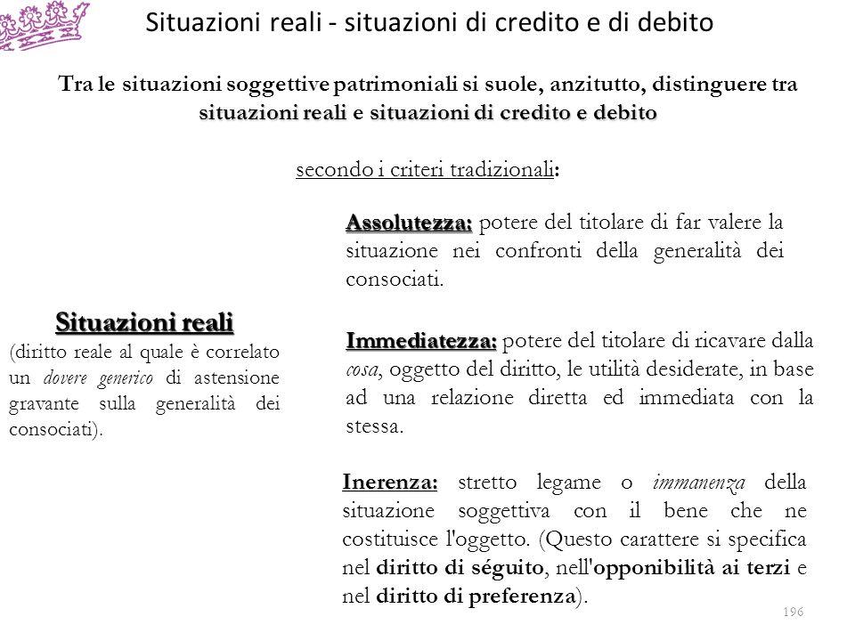 Segue: Situazioni reali – situazioni di credito e di debito Criteri tradizionali di distinzione Relatività: Relatività: la situazione giuridica soggettiva è esercitabile soltanto nei confronti di una persona determinata, il debitore.