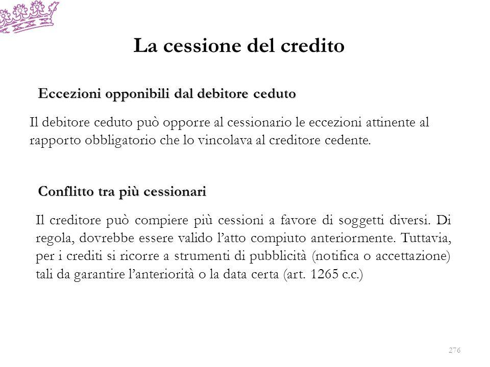La cessione del credito Conflitto tra più cessionari Il creditore può compiere più cessioni a favore di soggetti diversi. Di regola, dovrebbe essere v