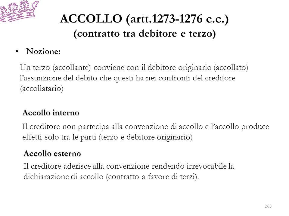 ACCOLLO (artt.1273-1276 c.c.) (contratto tra debitore e terzo) Nozione: Un terzo (accollante) conviene con il debitore originario (accollato) lassunzi