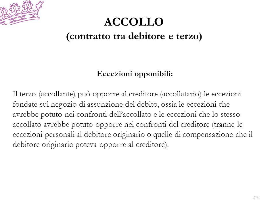 ACCOLLO (contratto tra debitore e terzo) Eccezioni opponibili: Il terzo (accollante) può opporre al creditore (accollatario) le eccezioni fondate sul