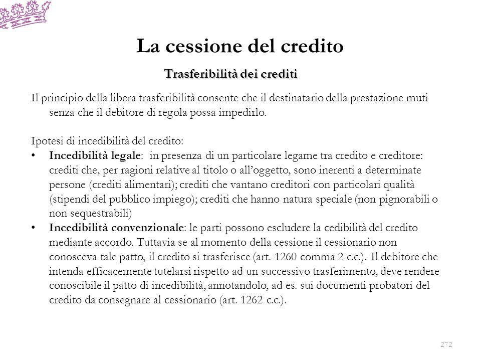 La cessione del credito Il principio della libera trasferibilità consente che il destinatario della prestazione muti senza che il debitore di regola p