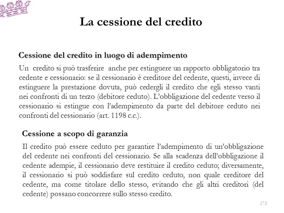 La cessione del credito Cessione del credito in luogo di adempimento Un credito si può trasferire anche per estinguere un rapporto obbligatorio tra ce