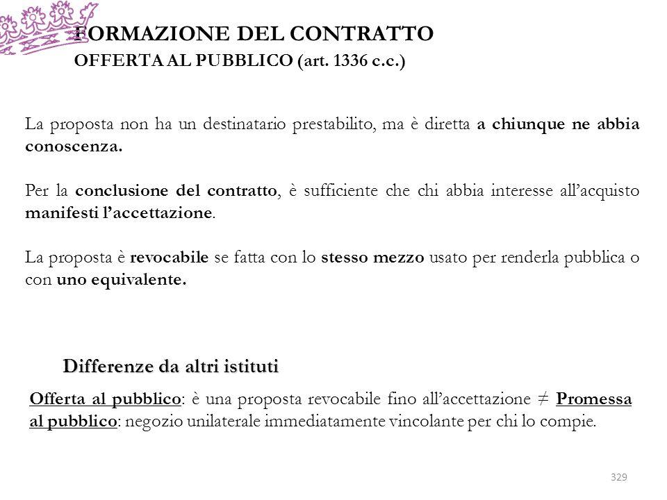 FORMAZIONE DEL CONTRATTO OFFERTA AL PUBBLICO (art. 1336 c.c.) La proposta non ha un destinatario prestabilito, ma è diretta a chiunque ne abbia conosc