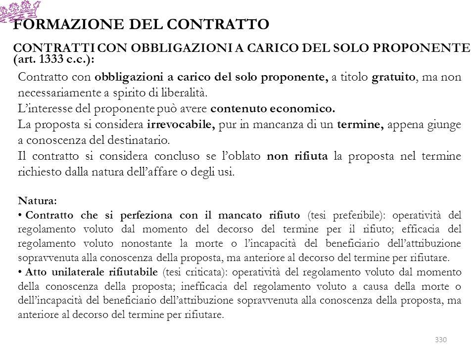 FORMAZIONE DEL CONTRATTO CONTRATTI CON OBBLIGAZIONI A CARICO DEL SOLO PROPONENTE (art. 1333 c.c.): Contratto con obbligazioni a carico del solo propon