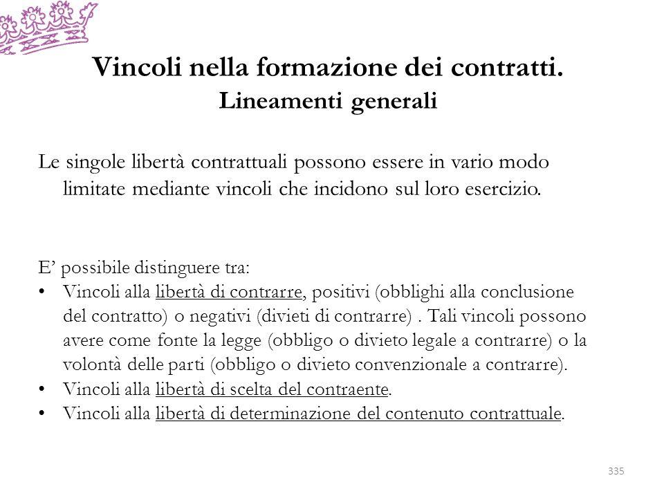 Vincoli nella formazione dei contratti. Lineamenti generali 335 Le singole libertà contrattuali possono essere in vario modo limitate mediante vincoli