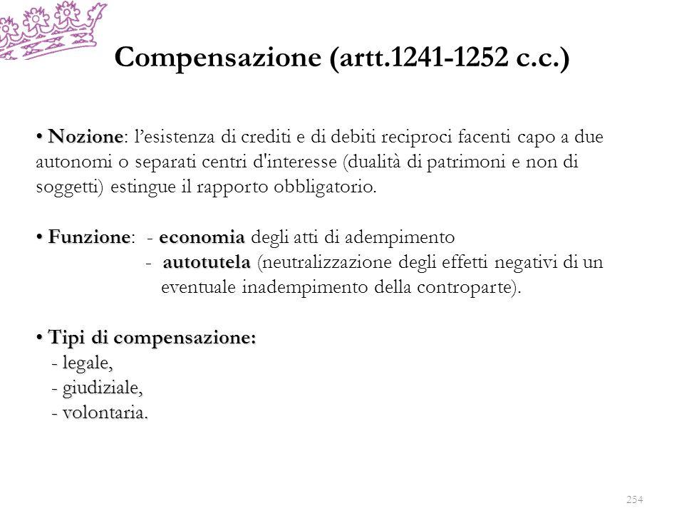 Compensazione (artt.1241-1252 c.c.) Nozione Nozione: lesistenza di crediti e di debiti reciproci facenti capo a due autonomi o separati centri d interesse (dualità di patrimoni e non di soggetti) estingue il rapporto obbligatorio.