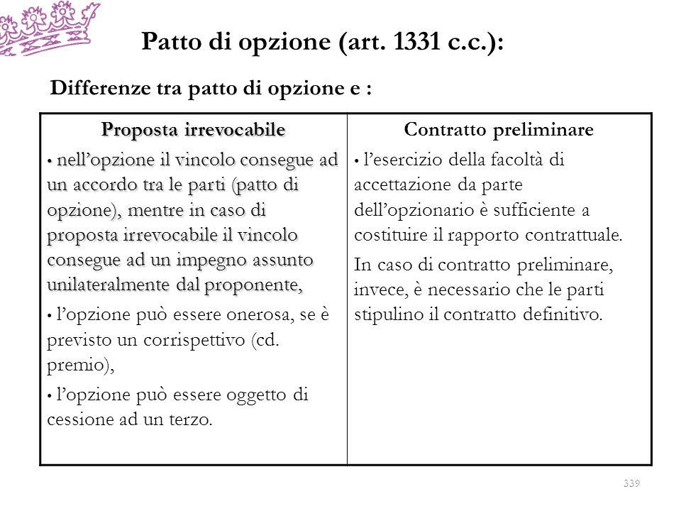 Patto di opzione (art. 1331 c.c.): Proposta irrevocabile nellopzione il vincolo consegue ad un accordo tra le parti (patto di opzione), mentre in caso