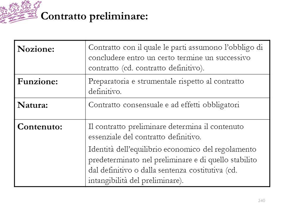 Contratto preliminare: 340 Nozione: Contratto con il quale le parti assumono lobbligo di concludere entro un certo termine un successivo contratto (cd