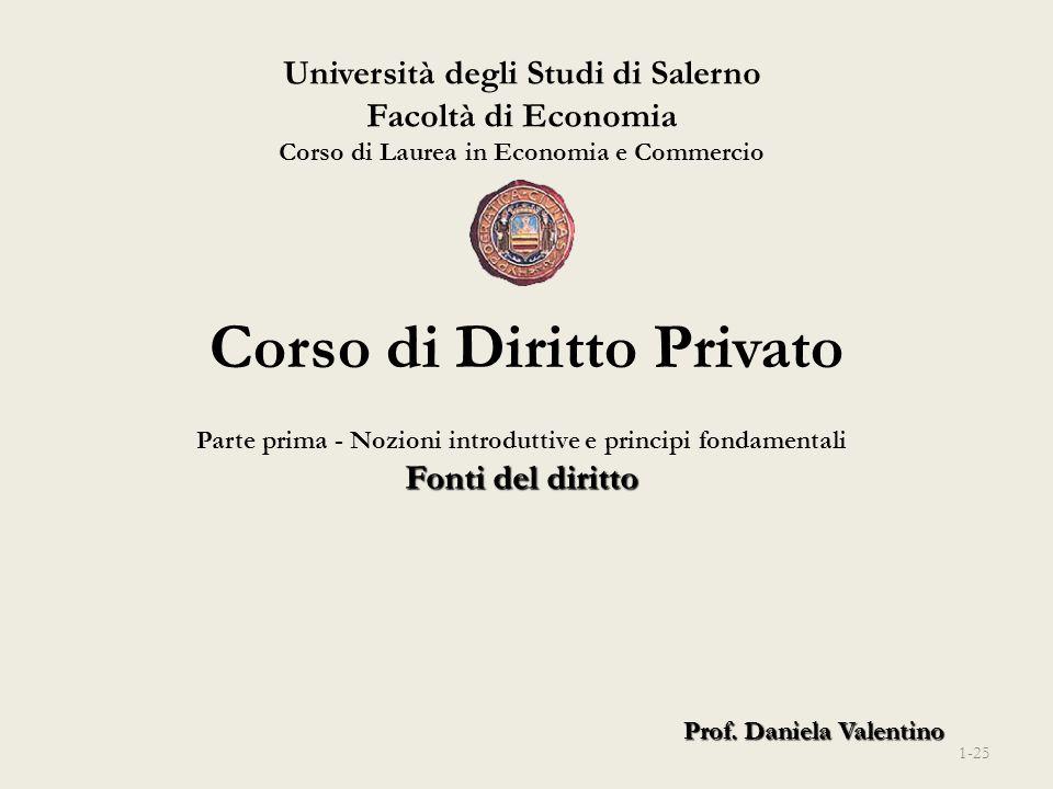 Università degli Studi di Salerno Facoltà di Economia Corso di Laurea in Economia e Commercio Prof. Daniela Valentino Corso di Diritto Privato Parte p
