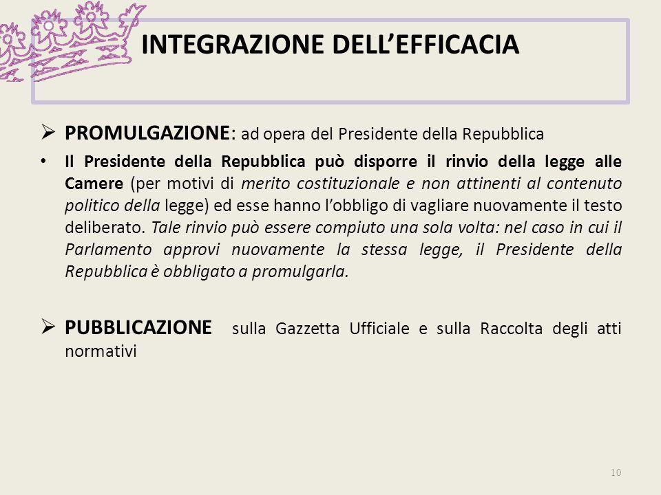 INTEGRAZIONE DELLEFFICACIA PROMULGAZIONE: ad opera del Presidente della Repubblica Il Presidente della Repubblica può disporre il rinvio della legge a