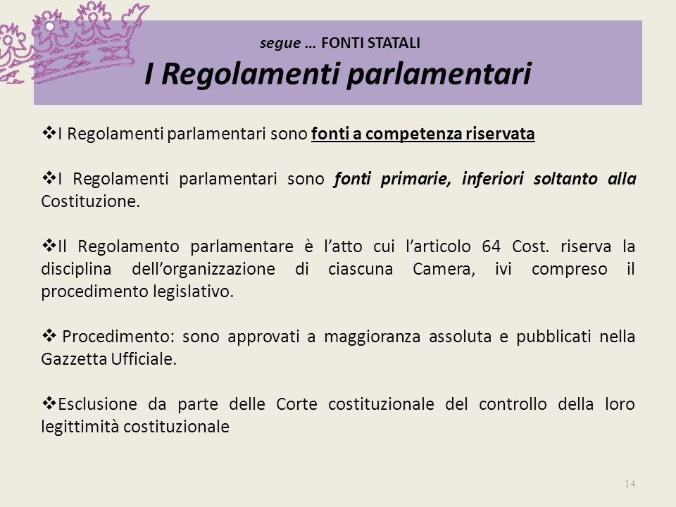 segue … FONTI STATALI I Regolamenti parlamentari I Regolamenti parlamentari sono fonti a competenza riservata I Regolamenti parlamentari sono fonti pr