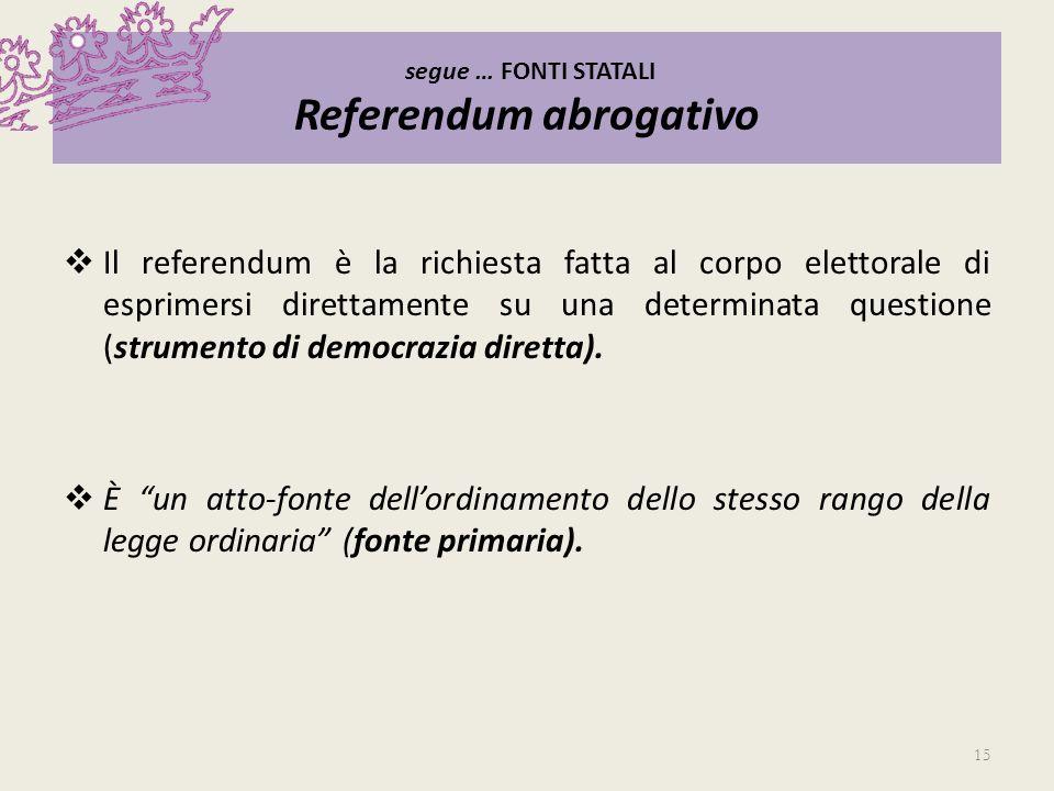 segue … FONTI STATALI Referendum abrogativo Il referendum è la richiesta fatta al corpo elettorale di esprimersi direttamente su una determinata quest