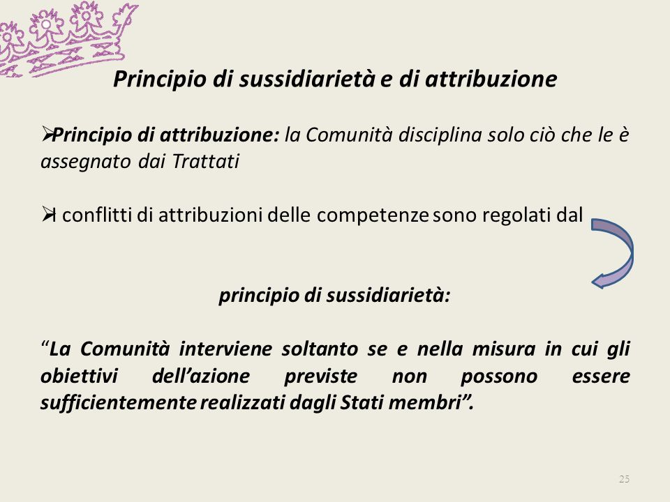 Principio di sussidiarietà e di attribuzione Principio di attribuzione: la Comunità disciplina solo ciò che le è assegnato dai Trattati I conflitti di