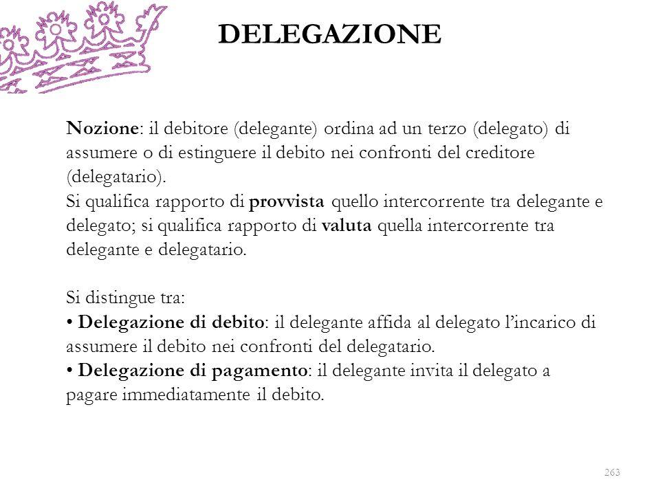 DELEGAZIONE 263 Nozione: il debitore (delegante) ordina ad un terzo (delegato) di assumere o di estinguere il debito nei confronti del creditore (dele