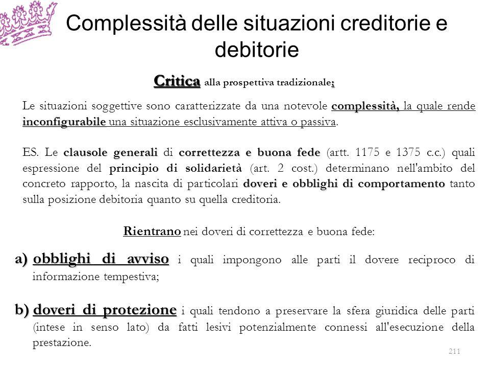 Complessità delle situazioni creditorie e debitorie complessità, inconfigurabile Le situazioni soggettive sono caratterizzate da una notevole compless