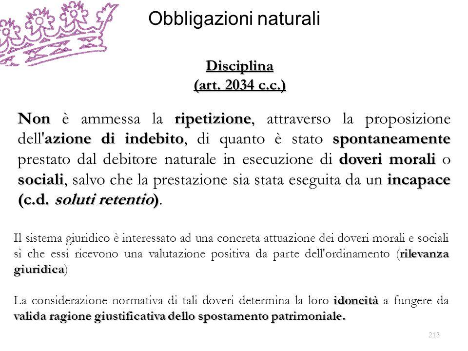 Obbligazioni naturali Nonripetizione azione di indebitospontaneamente doveri morali socialiincapace (c.d. soluti retentio) Non è ammessa la ripetizion