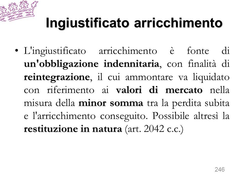 Ingiustificato arricchimento un'obbligazione indennitaria reintegrazione valori di mercato minor somma restituzione in naturaL'ingiustificato arricchi