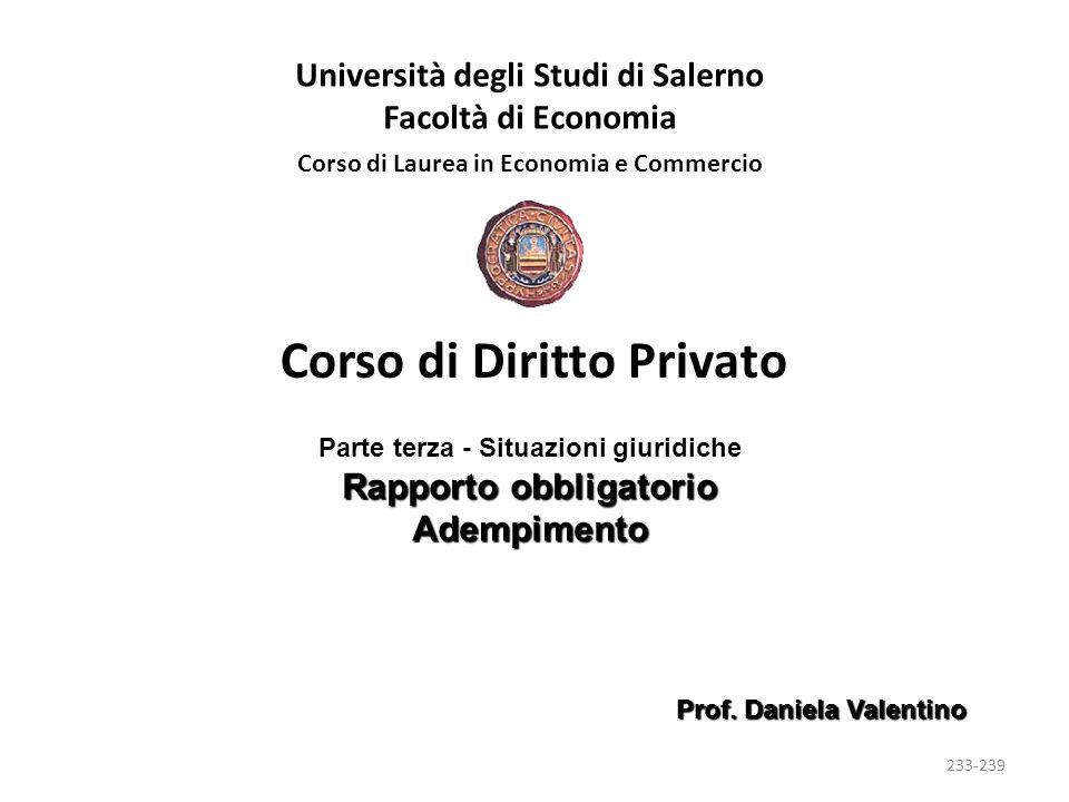 Università degli Studi di Salerno Facoltà di Economia Corso di Laurea in Economia e Commercio Prof.
