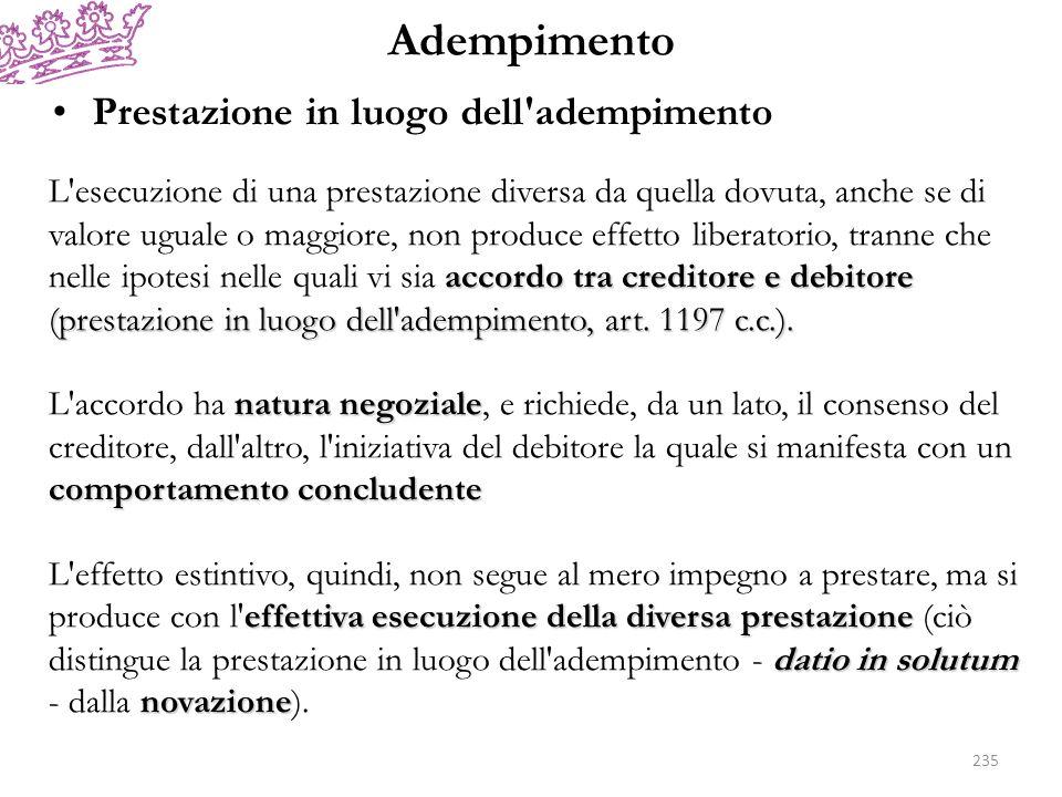 Adempimento Prestazione in luogo dell adempimento accordo tra creditore e debitore (prestazione in luogo dell adempimento, art.