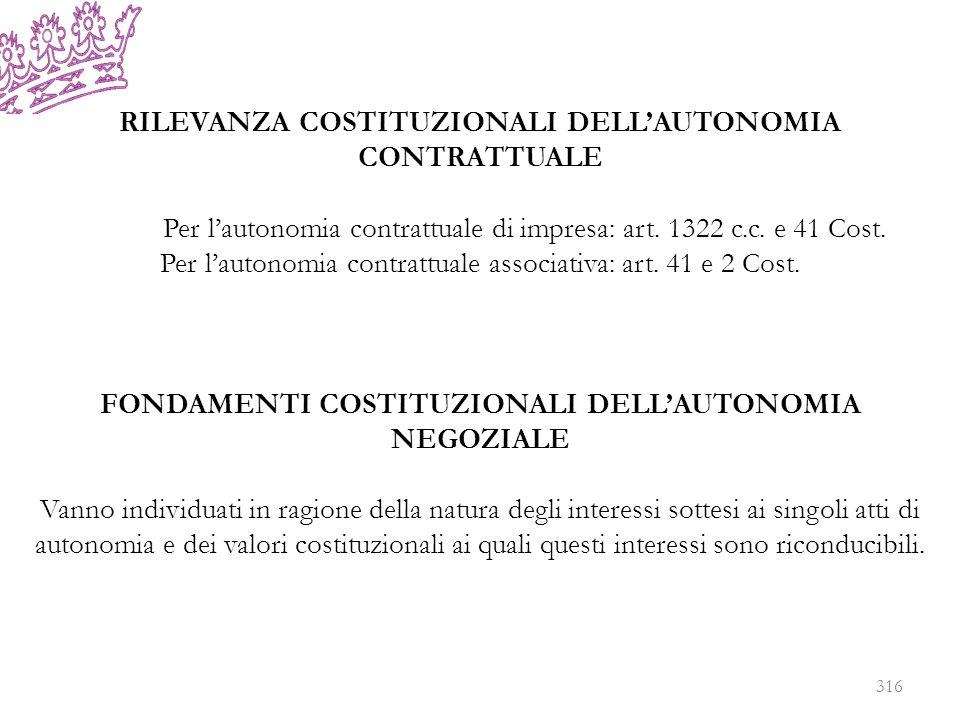 RILEVANZA COSTITUZIONALI DELLAUTONOMIA CONTRATTUALE Per lautonomia contrattuale di impresa: art. 1322 c.c. e 41 Cost. Per lautonomia contrattuale asso