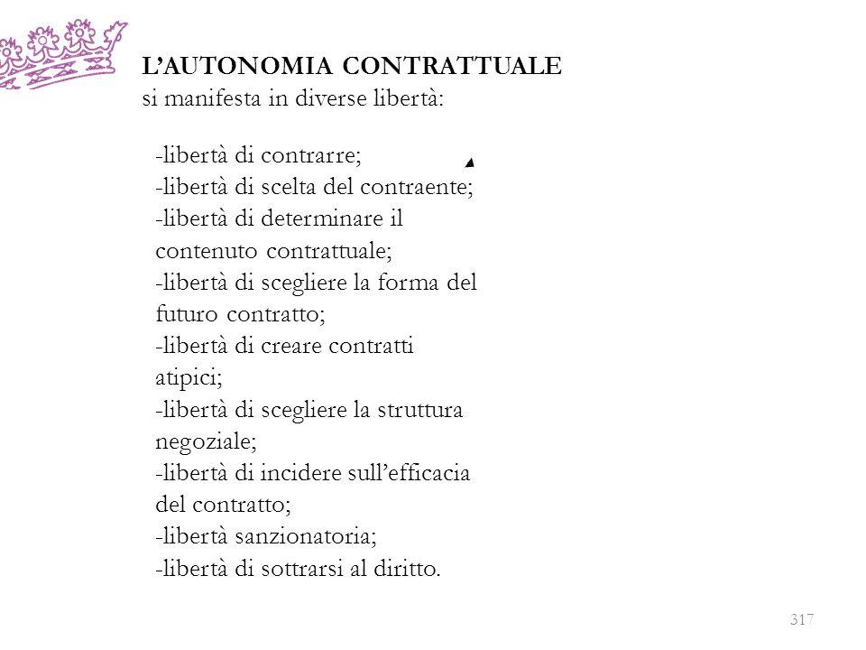 LAUTONOMIA CONTRATTUALE si manifesta in diverse libertà: -libertà di contrarre; -libertà di scelta del contraente; -libertà di determinare il contenut