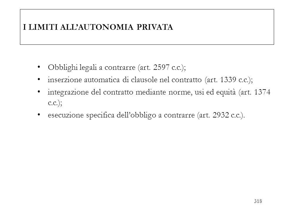 I LIMITI ALLAUTONOMIA PRIVATA Obblighi legali a contrarre (art. 2597 c.c.); inserzione automatica di clausole nel contratto (art. 1339 c.c.); integraz