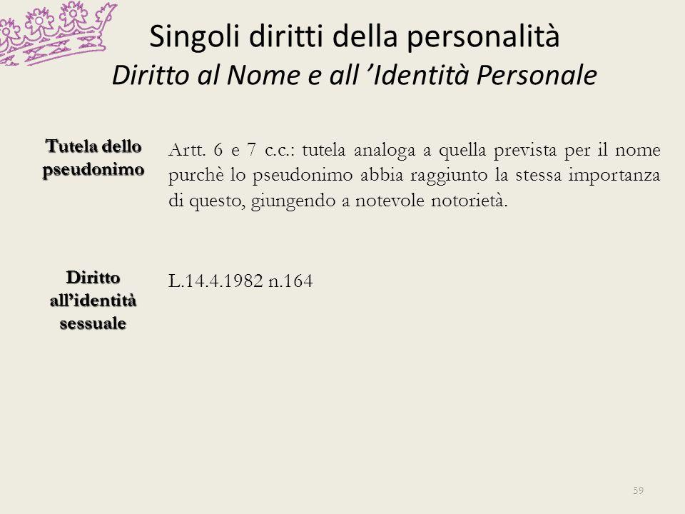 Singoli diritti della personalità Diritto al Nome e all Identità Personale Tutela dello pseudonimo Artt. 6 e 7 c.c.: tutela analoga a quella prevista