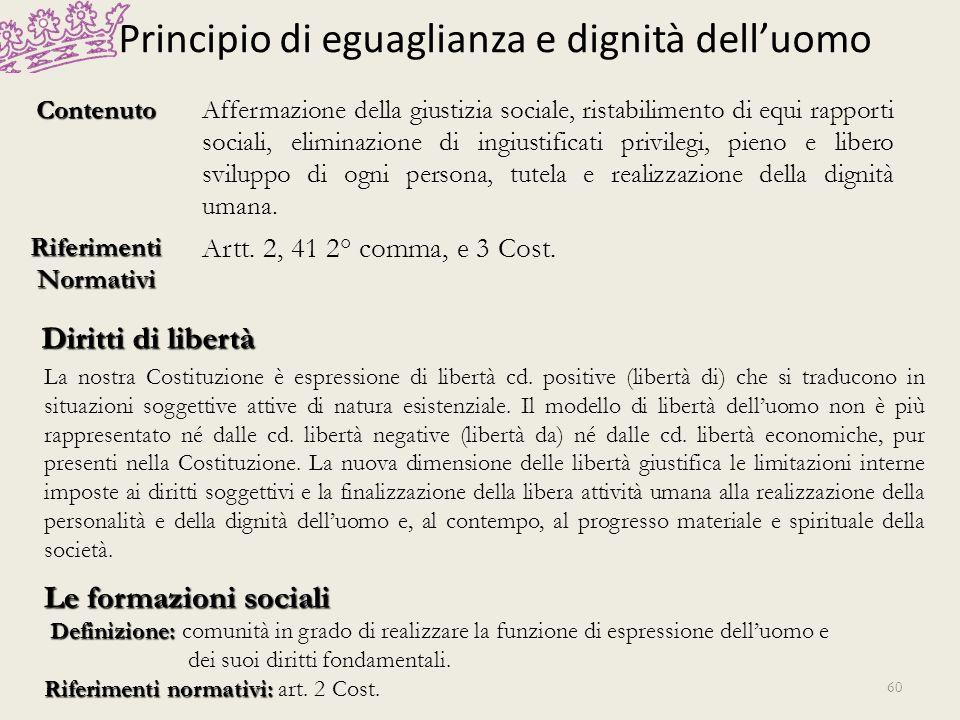 Principio di eguaglianza e dignità delluomo ContenutoAffermazione della giustizia sociale, ristabilimento di equi rapporti sociali, eliminazione di in