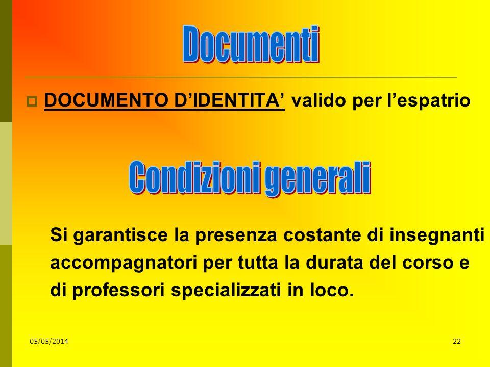 05/05/201422 DOCUMENTO DIDENTITA valido per lespatrio Si garantisce la presenza costante di insegnanti accompagnatori per tutta la durata del corso e