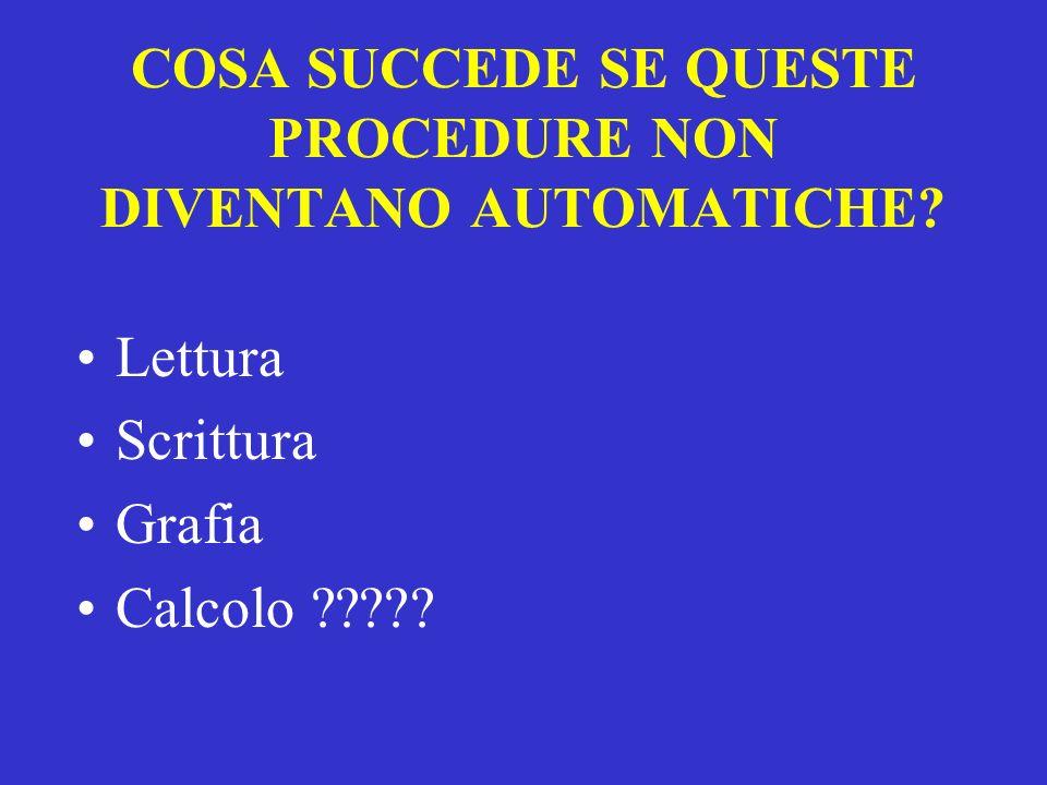 COSA SUCCEDE SE QUESTE PROCEDURE NON DIVENTANO AUTOMATICHE? Lettura Scrittura Grafia Calcolo ?????