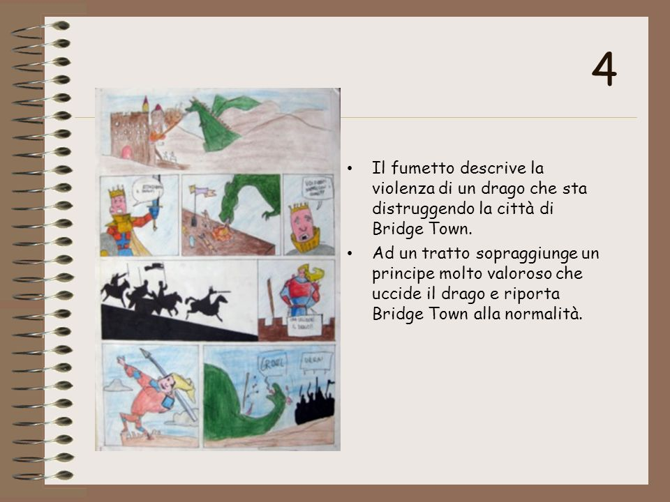 4 Il fumetto descrive la violenza di un drago che sta distruggendo la città di Bridge Town. Ad un tratto sopraggiunge un principe molto valoroso che u