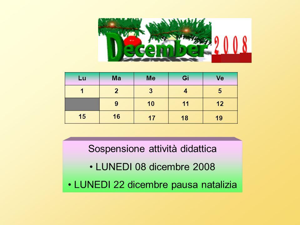 LuMaMeGiVe 12345 9101112 1516 1718 19 Sospensione attività didattica LUNEDI 08 dicembre 2008 LUNEDI 22 dicembre pausa natalizia