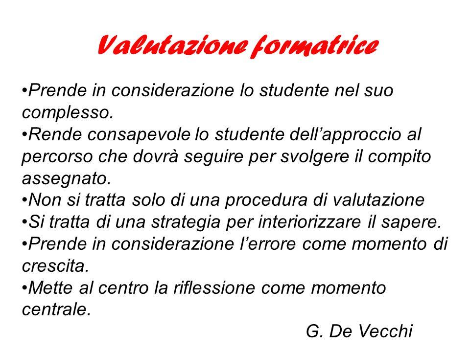 Valutazione formatrice Prende in considerazione lo studente nel suo complesso.