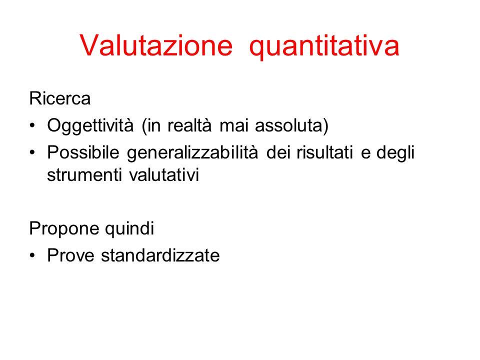 Valutazione quantitativa Ricerca Oggettività (in realtà mai assoluta) Possibile generalizzabilità dei risultati e degli strumenti valutativi Propone quindi Prove standardizzate