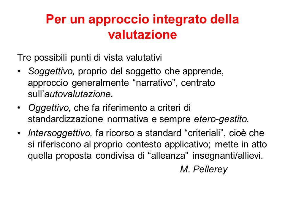 Per un approccio integrato della valutazione Tre possibili punti di vista valutativi Soggettivo, proprio del soggetto che apprende, approccio generalmente narrativo, centrato sullautovalutazione.