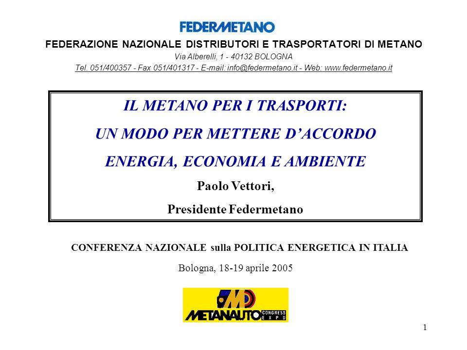 1 FEDERAZIONE NAZIONALE DISTRIBUTORI E TRASPORTATORI DI METANO Via Alberelli, 1 - 40132 BOLOGNA Tel.