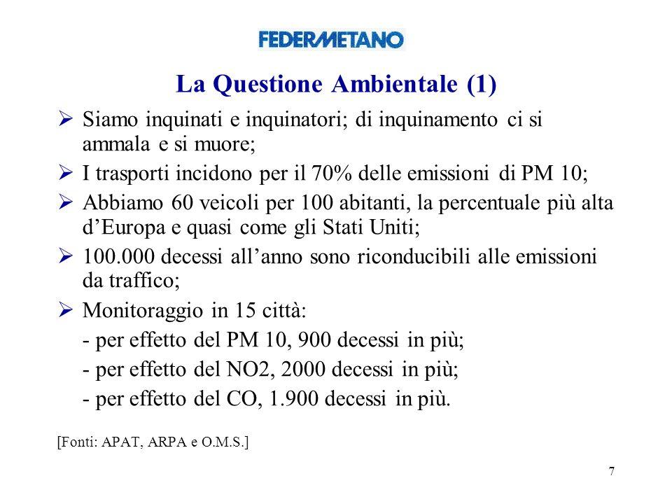 7 La Questione Ambientale (1) Siamo inquinati e inquinatori; di inquinamento ci si ammala e si muore; I trasporti incidono per il 70% delle emissioni di PM 10; Abbiamo 60 veicoli per 100 abitanti, la percentuale più alta dEuropa e quasi come gli Stati Uniti; 100.000 decessi allanno sono riconducibili alle emissioni da traffico; Monitoraggio in 15 città: - per effetto del PM 10, 900 decessi in più; - per effetto del NO2, 2000 decessi in più; - per effetto del CO, 1.900 decessi in più.