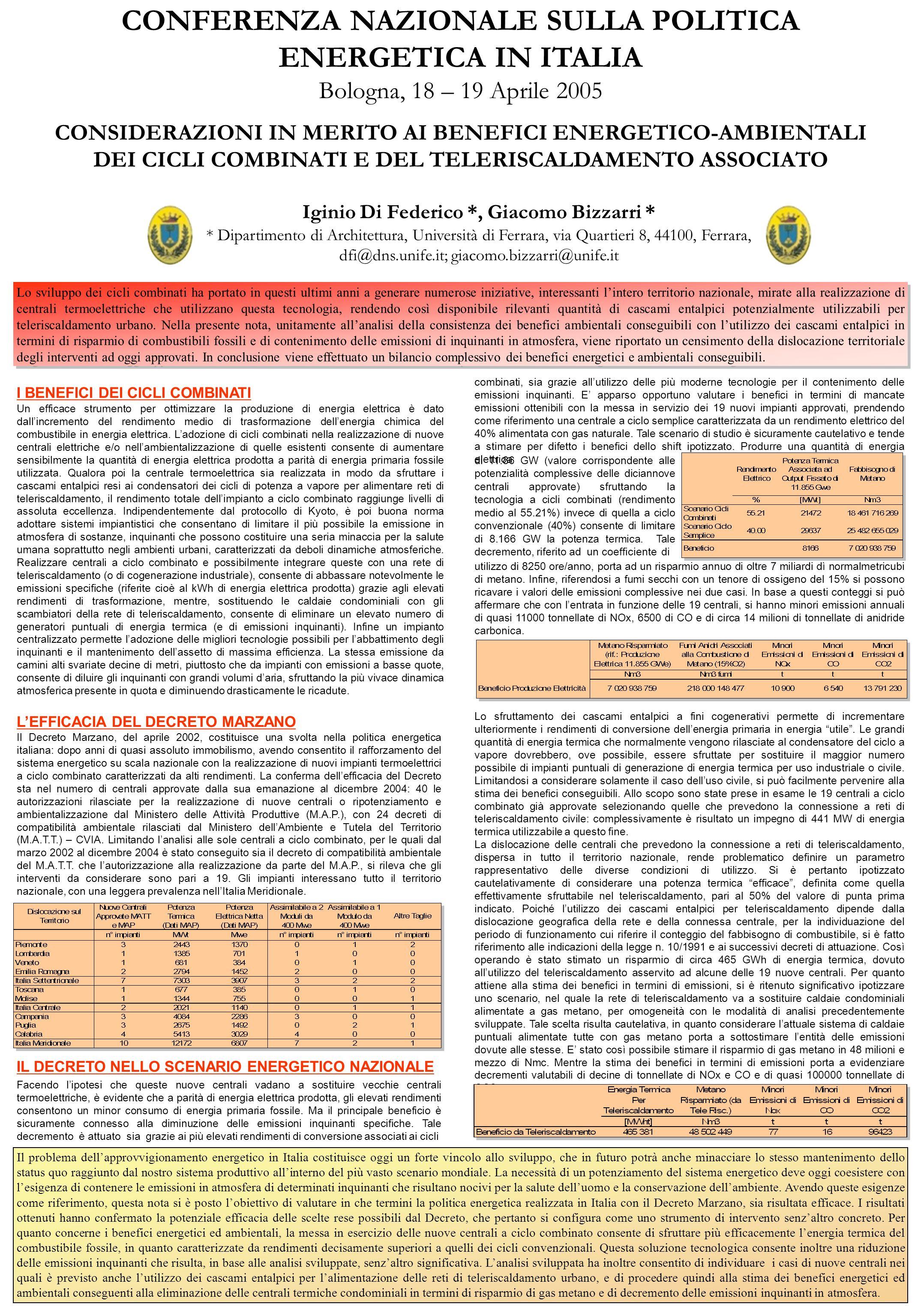 CONFERENZA NAZIONALE SULLA POLITICA ENERGETICA IN ITALIA Bologna, 18 – 19 Aprile 2005 CONSIDERAZIONI IN MERITO AI BENEFICI ENERGETICO-AMBIENTALI DEI C