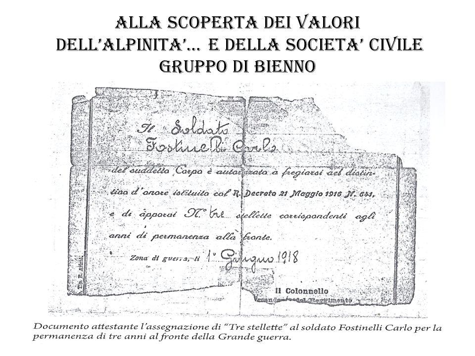 ALLA SCOPERTA DEI VALORI DELLALPINITA… E DELLA SOCIETA CIVILE gruppo di esine