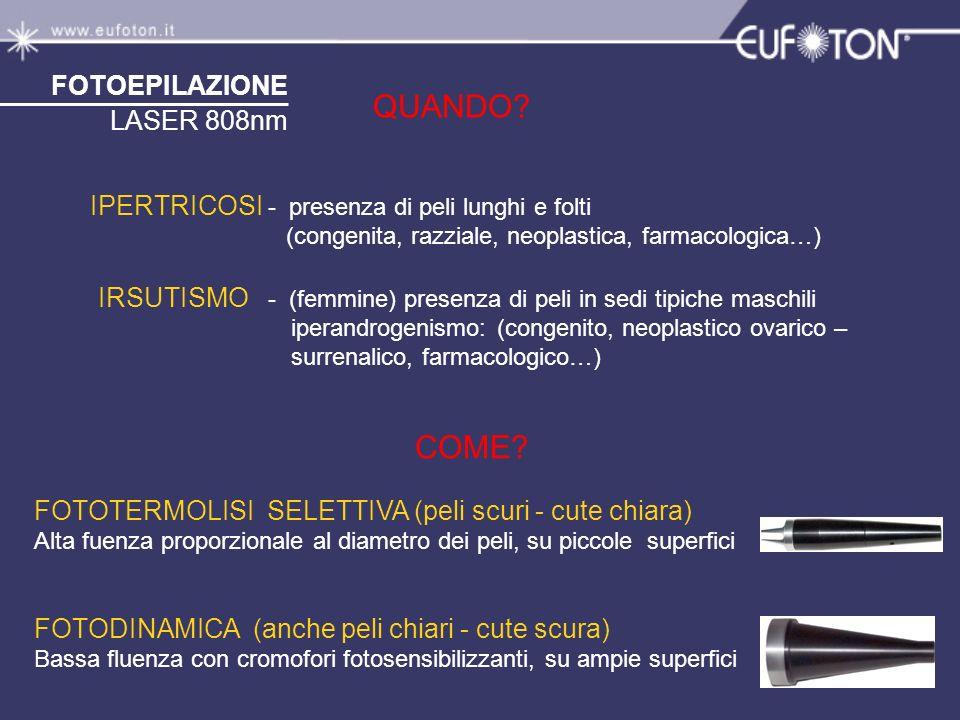CONSIGLI OPERATIVI I° - - Rasare i peli - Pulire la cute - Raffreddare la zona - Proteggere le ipercromie - Eseguire la fototermolisi fino alla scomparsa dello stelo - Evitare la continuità sequenziale degli spot - Raffreddare ogni 10 spot o al comparire di eritema - Applicare una soluzione idratante antinfiammatoria EPILAZIONE FOTOTERMOLITICA