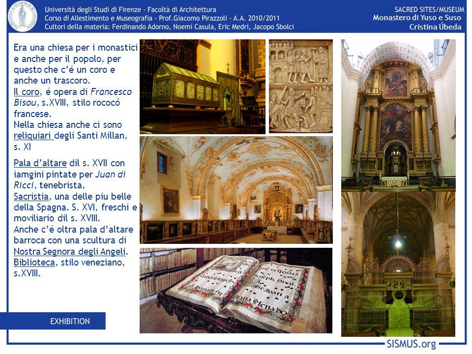 Era una chiesa per i monastici e anche per il popolo, per questo che cé un coro e anche un trascoro. Il coro, é opera di Francesco Bisou, s.XVIII, sti