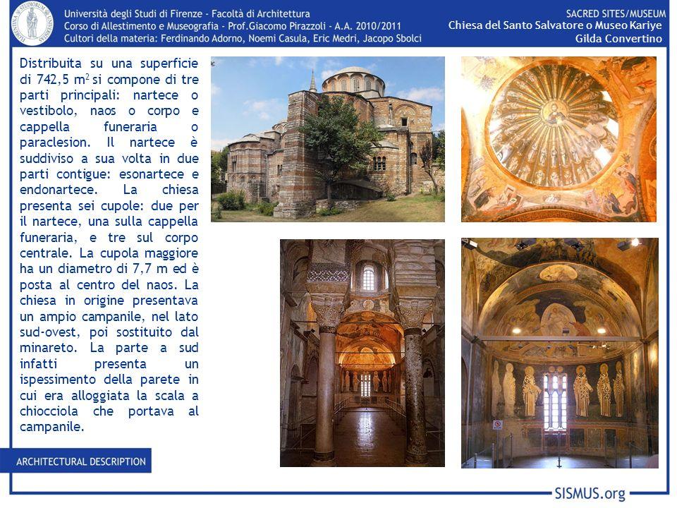 Distribuita su una superficie di 742,5 m 2 si compone di tre parti principali: nartece o vestibolo, naos o corpo e cappella funeraria o paraclesion. I