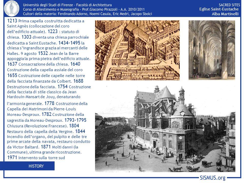 1213 Prima capella costruitta dedicatta a Saint Agnès (collocazione del coro delledificio attuale). 1223 : statuto di chiesa. 1303 diventa una chiesa