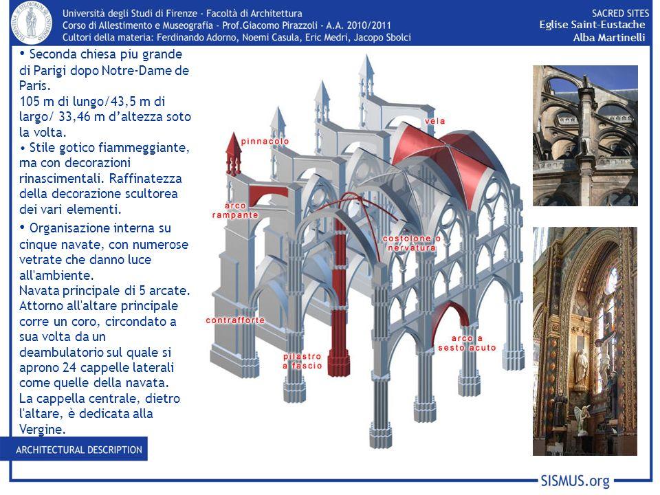 Seconda chiesa piu grande di Parigi dopo Notre-Dame de Paris. 105 m di lungo/43,5 m di largo/ 33,46 m daltezza soto la volta. Stile gotico fiammeggian